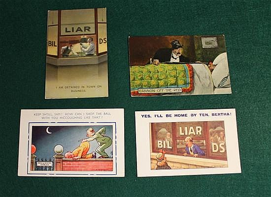 Lot of 4 pc. Humorous postcards