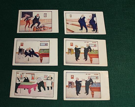 Lot of 6 pc. Bernhardt Wall postcards. 4 Billiards and 2 Bowling.