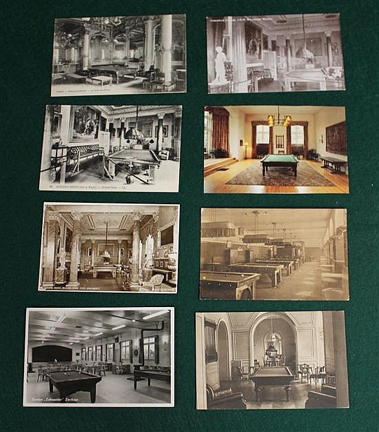 Lot of 8 pc. European postcards of billiard rooms (3 cards of The Osborne House).