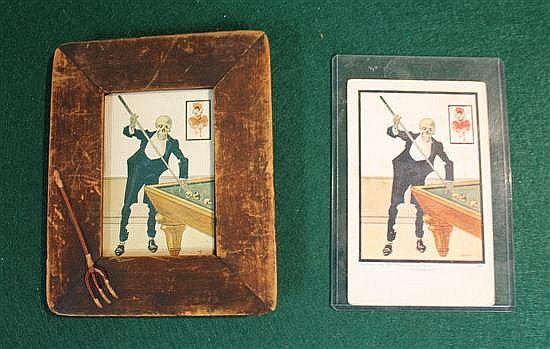 Lot of 2 pc. Framed devil postcard (cut down) with wood frame with pitchfork and original devil postcard.
