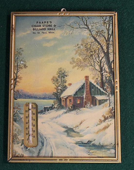 Advertising Thermometer from Paapes Cigar Store, Billiard Hall. So. St. Paul, Mn.