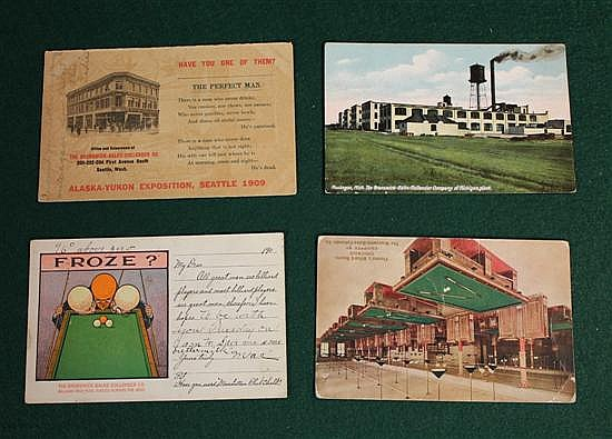 Lot of 4 pc. Brunswick, Balke and Collender postcards.