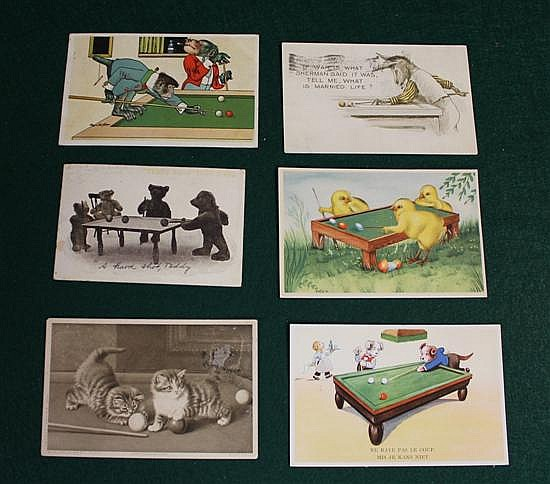 Lot of 6 pc. Postcards of animals shooting pool ( donkey, monkey, dogs, cats, bears, chicks).