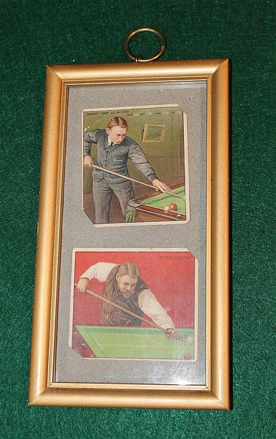 Lot of 2 Mecca cigarette cards framed. Cowboy Joe Weston and George Sutton.
