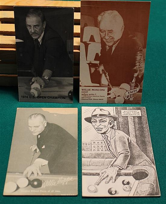 4 pc. lot of billiard players, Willie Mosconi, Joe Balsis, Willie Hoppe and