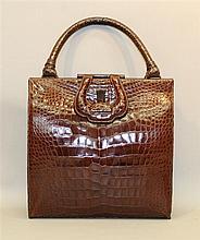 Vintage Lucille de Paris Brown Alligator Handbag