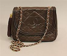 Chanel Brown Quilted Leather Handbag