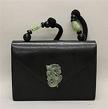 Rafael Sanchez Black Leather Handbag with Green Jade Trim