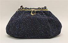Manhill Paris Midnight Blue Beaded Evening Bag