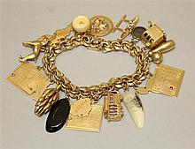 14K Yellow Gold Charm Bracelet with Assorted Charms