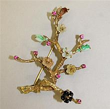 14K Yellow Gold, Jade and Ruby Flowering Branch Brooch