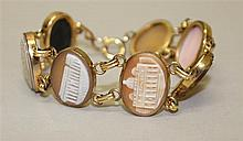 12K Yellow Gold Filled, Architectural Shell Cameo Bracelet