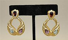 14K Yellow Gold Multi-stone Earrings