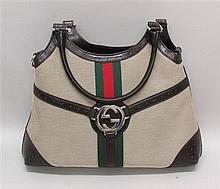 Gucci Canvas and Leather Handbag