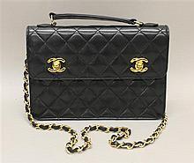Vintage Chanel Black (Midnight Blue) Quilted Leather Handbag