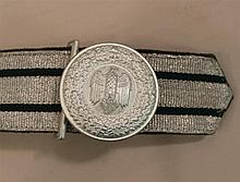 German WW II army officers parade dress belt and buckle. Belt dispalys a flat silver bullion facing with two green parallel lines st...