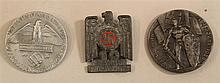 Lot of three German WW II day tags (tinnies). Group consists of three uncommon types one of which commemorates the 10th year of Gau ...
