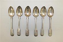 Six English Coin Silver Spoons