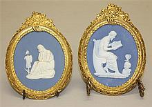 Pair of Wedgwood & Bentley Jasperware Plaques with Ormolu Frames, Circa Late 18th Century