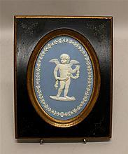Wedgwood Jasperware Framed Plaque of Putto, circa 19th century