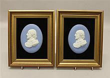 Pair of Wedgwood Jasperware Shakespeare Framed Portrait Medallions