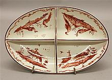 Wedgwood Divided Relish Dish with Transferware Crimson Peacock Pattern