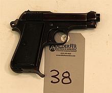 P. Beretta Model 1934 semi-automatic pistol. Cal. 9 mm Corto. 3-1/2