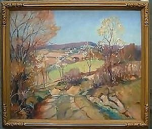 Fine Art Walter I. Mattern.. Autumn landscape with view of valley and farm, oil on masonite, 25 x 30in, SLR:
