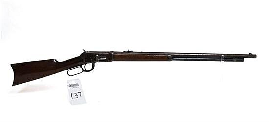 """Winchester Model 1894 lever action rifle. Cal. 32-40. 26"""" octagon bbl. SN 198213. Patina finish on all metal, outside of barrel and ..."""