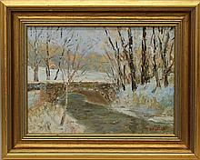 "Kaiser, Don F., b. 1958, Pennsylvania, ""Bridge in Snow"" Oil on Canvas."