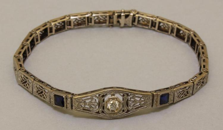Platinum on Gold Bracelet with Diamond and Sapphires