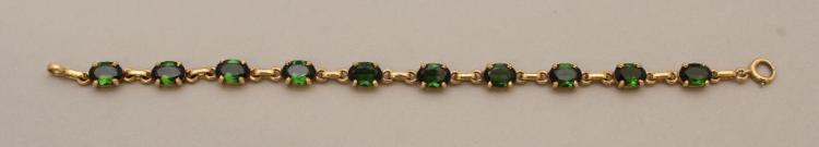Gold Bracelet with Chrome Diopside Green Stones