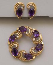 Gold Pin and Earrings with Amethyst and Diamond