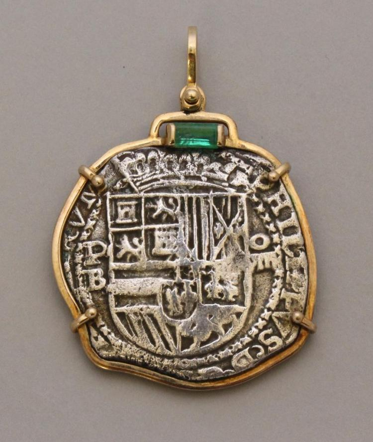 Gold Pendant with Silver Coin and Emerald