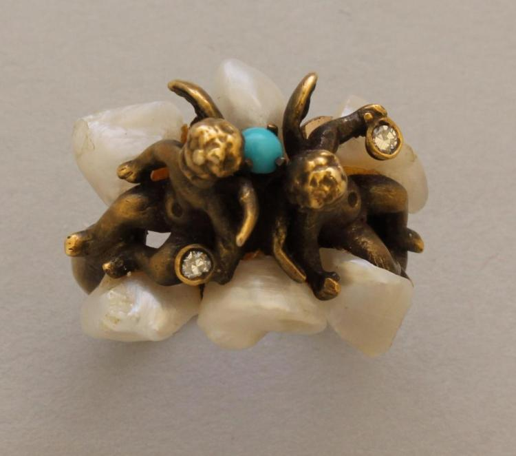 Gold Ring with Cherubs, Pearl, Diamond and Turquoise