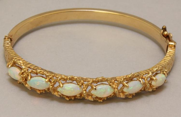 Gold Bracelet with Opals
