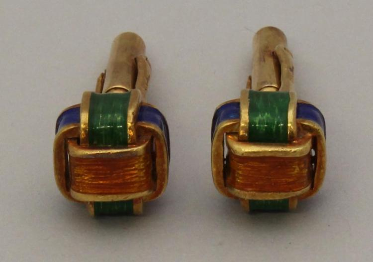 Gold Cufflinks with Enamel