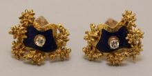 Gold Cufflinks with Diamond and Enamel