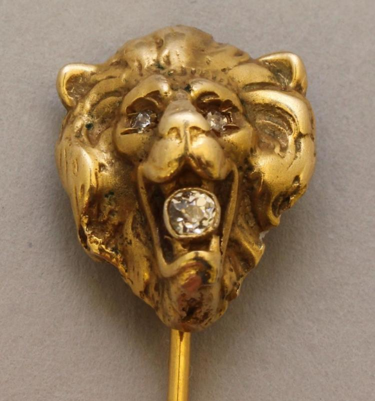 Gold Stick Pin with Diamonds
