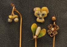 Gold Stickpins and Gold Filled Tac Pin, Enamel, Diamond and Pearl. Lot of 4.