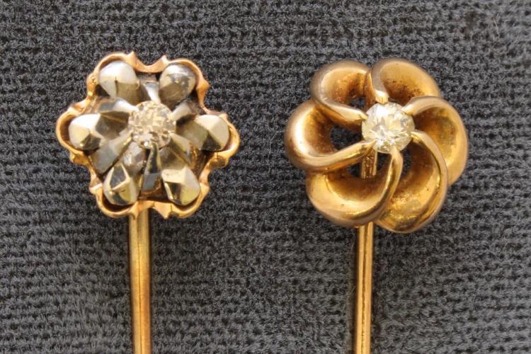 Gold Stickpins with Diamond. Lot of 2.