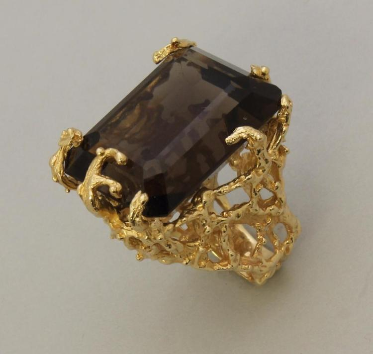Gold Ring with Smoky Quartz