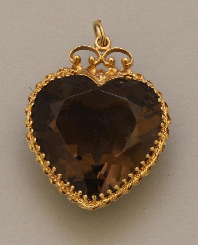 Gold Pendant with Smoky Quartz