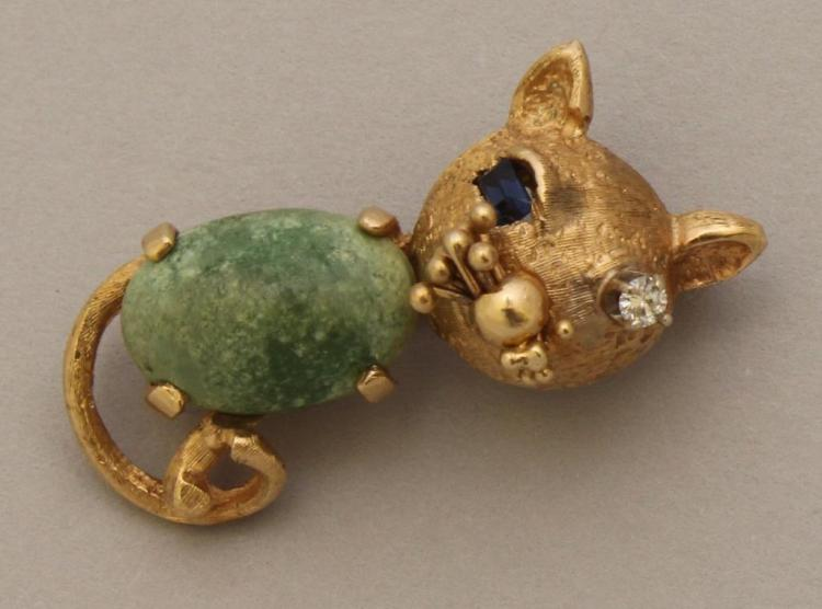 Gold Pin with Diamond, Sapphire and Stone Cabochon