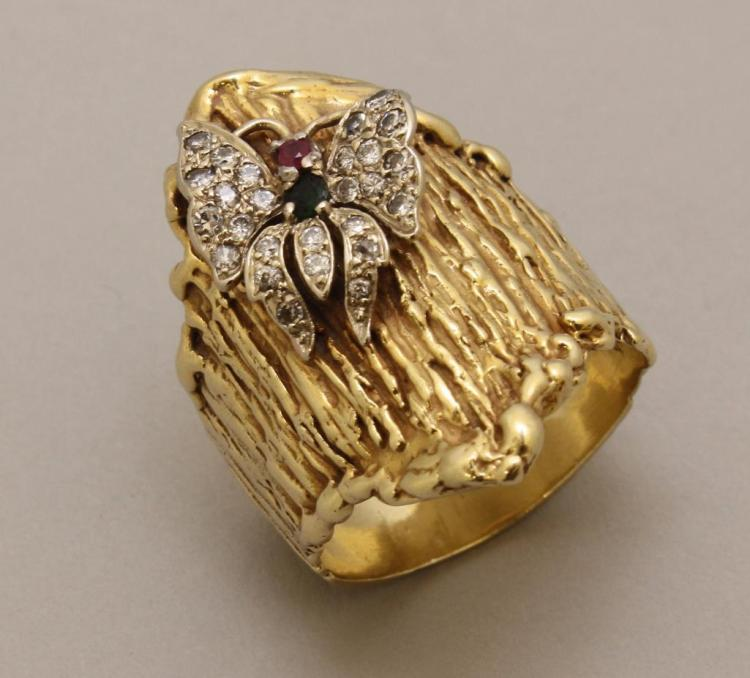 Gold Ring with Emerald, Ruby and Diamond