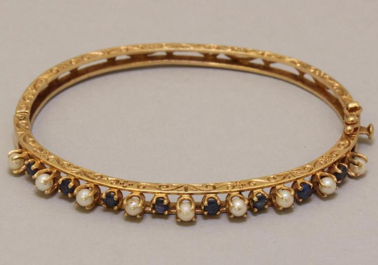 Gold Bracelet with Sapphire and Pearl