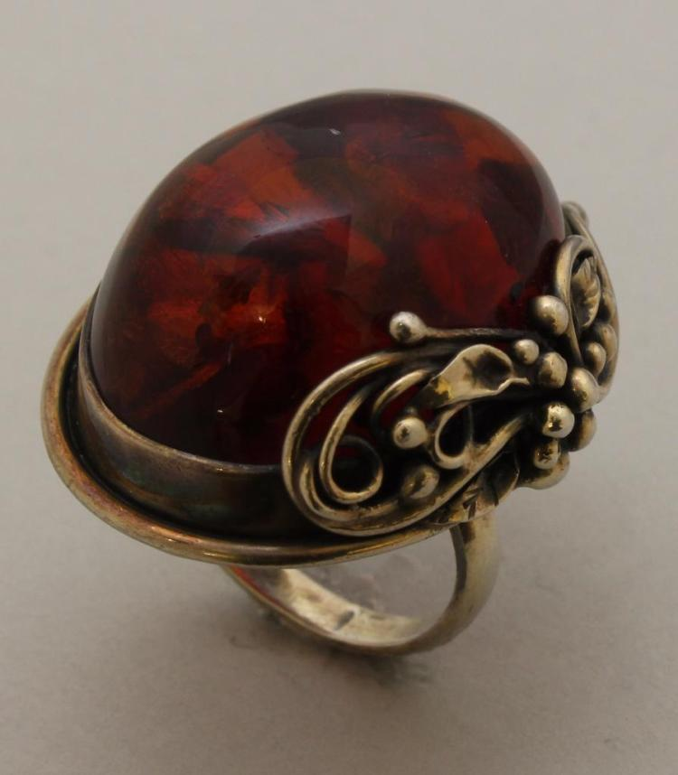 Sterling Ring with Amber