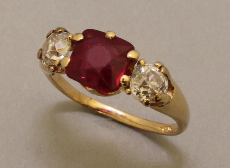 Gold Ring with Red Stone and Diamond