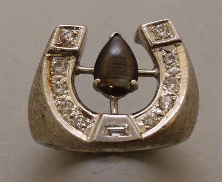 Gold Ring with Black Star Sapphire and Diamonds
