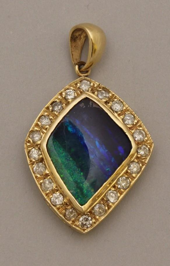 Gold Pendant with Black Opal and Diamond